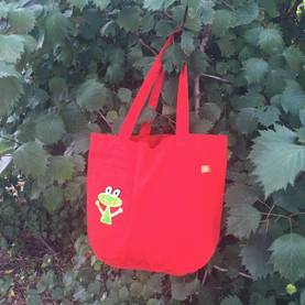 Frog canvas bag, red -  - lipfishss17-10 - 1