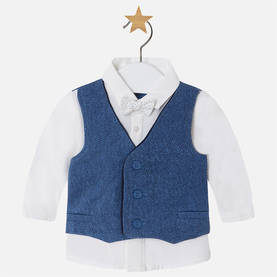 L/s shirt with vest and bow, blue -  - 1H2105010 - 1