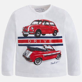 L/s silkscreen cars shirt, cream -  - 5B4009080 - 1