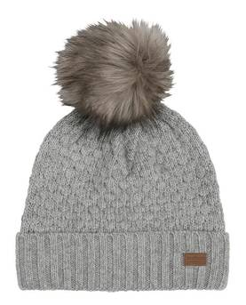 Lamb wool sailor hat w. fur pom, l.grey -  - melton570010 - 1