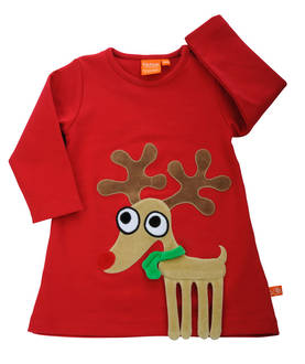 Reindeer dress, red -  - 12033-1 - 1
