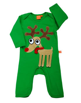 Reindeer jumpsuit, green -  - 12032-1 - 1