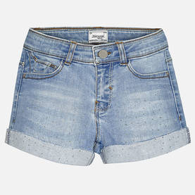 Rhinestone denim shorts, denim -  - mayss17b041 - 1