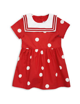 Dot woven sailor dress, red -  - 1815010642 - 1