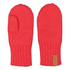 Knitted children mittens, BRIGHT RED -  - kcm1802