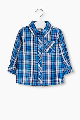 Checkered blouse, blue -  - Espritrk12002 - 1