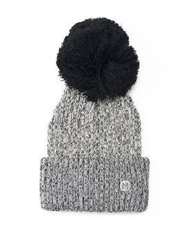Drum beanie with pompom, twisted grey -  - ma10052 - 1