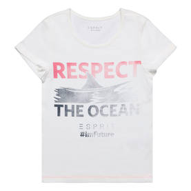 Respect the ocean T-shirt, white/pink -  - Espritrl1068502 - 1