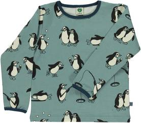 T-shirt with penguin, bluestone -  - smafolkaw172 - 1
