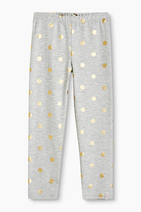Polka dot leggings, grey/gold -  - Espritrk24033 - 1