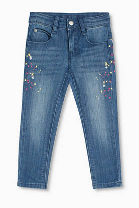Stretch jeans with a colourful print -  - esprit22213 - 1