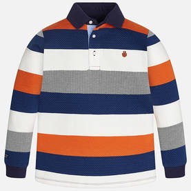 L/s stripes polo, blue/orange -  - 7B7103093 - 1