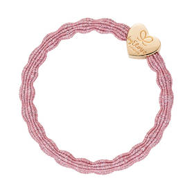Bangle band Glitter Gold Heart rose pink -  - byeloise832675