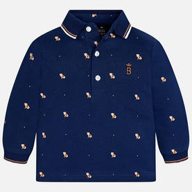 L/s printed polo, dark blue -  - 3D2119045 - 1