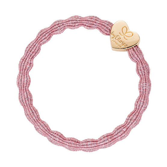 Bangle band Glitter Gold Heart rose pink - Korut ja hiustarvikkeet - byeloise832675 - 1