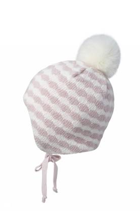 Baby hat w. fake fur, white/light pink -  - mpaw1796256 - 1