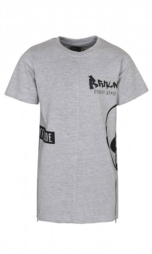 Print t-shirt with zippers, grey - T-paidat - kidsup7412056 - 1