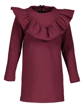 V-frilla dress, burgundy 110/116-122/128 -  - metsaw170847 - 1