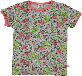 T-shirt w. strawberry flowers, lt. grey -  - smafolkss188 - 1