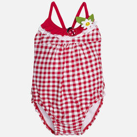 Gingham girl swimsuit, red -  - mayss17b019 - 1