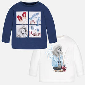 Penguin shirt set, blue -  - 3E2023069