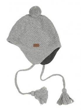 Lamb wool baby beanie, light grey -  - melton570019 - 1