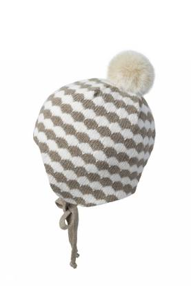 Baby hat w. fake fur, white/beige -  - mpaw1796256b - 1