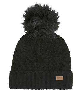 Lamb wool sailor hat w. fur pom, black -  - melton570010b - 1