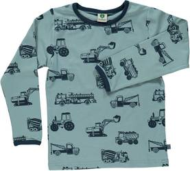 T-shirt with machines, stone blue -  - smafolkaw1741d - 1