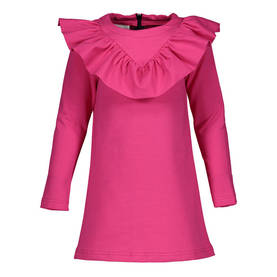 V-frilla dress, pink 110/116-122/128 -  - metsaw1708e - 1