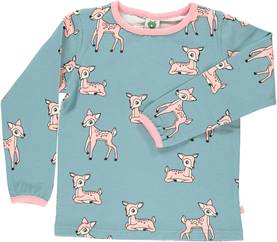 T-shirt with deer, stone blue -  - smafolkaw171g - 1